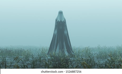 Black Spirit Demon Raising out of the Water Abstract Foggy Watery Void with Reeds and Grass background Front View 3d Illustration 3d render