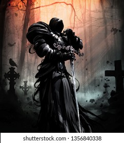 A black spirit in plate armor and a hood, with a crystal sword, hovers in the middle of a gloomy cemetery with crows