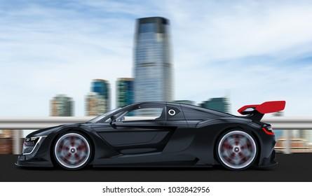 Black sport car in a city: 3D rendering