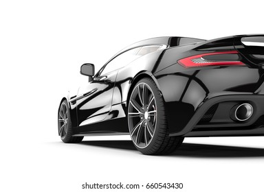 Black sport car isolated on a white background isolated on a white background: 3D rendering