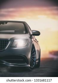 black sport car.3d render and illustration.