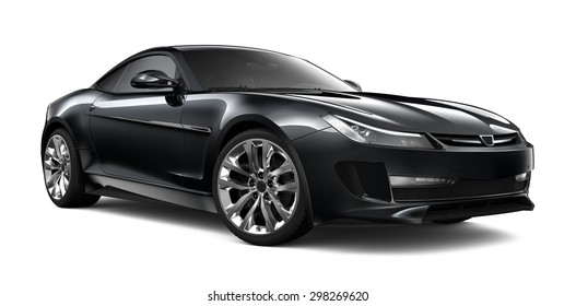 Black sport coupe car - 3D render on white
