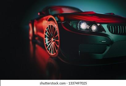 black sports car. 3d render and illustration.