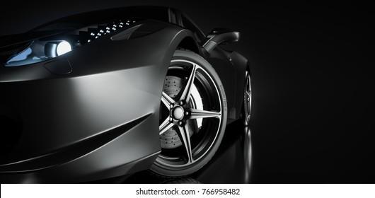 Black sports car. 3d render. illstration.