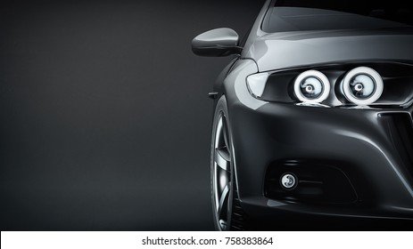 Black sports car. 3d rendering and illstration.