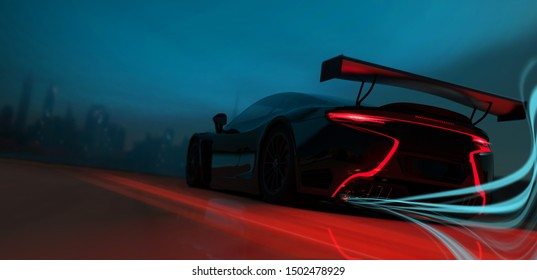 Black sports car - city street racer concept (with grunge overlay) brand less -  rear view, outdoor studio - 3d illustration