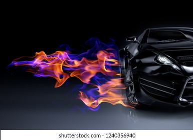 Black sports car and fire flames. Non-branded original car design. 3D illustration.