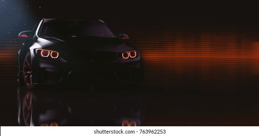 Black sports car headlights (with overlay) - 3d illustration