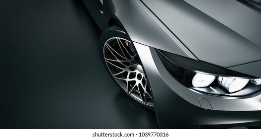 Black sports car. High angle black sports car. 3d rendering and illustration.