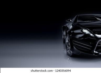 Black sports car. Non-branded original car design. 3D illustration.
