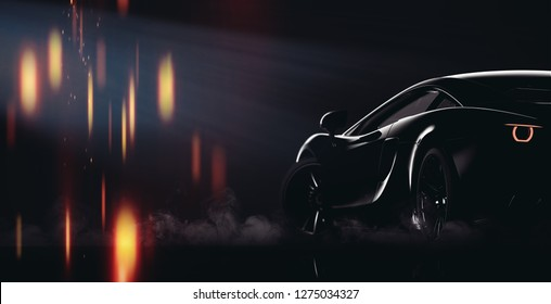 Black sports car silhouette lines (with grunge overlay) - tail lights detail - 3d illustration