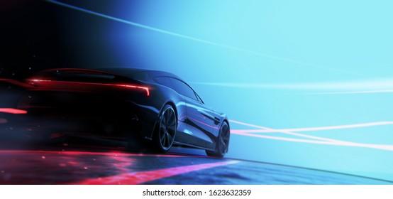 Black sports car speeding (with grunge overlay and motion blur) brand less, custom tail lights design - 3d illustration
