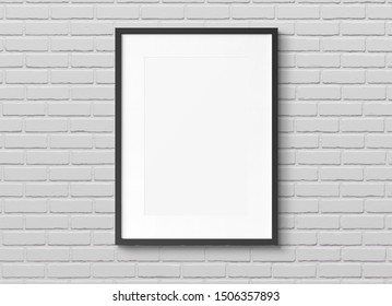 Black squared wooden frame on brick wall background 3D rendering