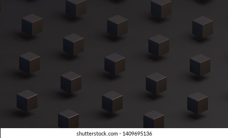 Black squares on a black background. Isometric view. Minimal style. 3D illustration