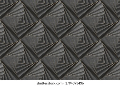 Black squares stylized in the form of decorative convex modules with worn gold edges.3d illustration. High quality image for print and web.