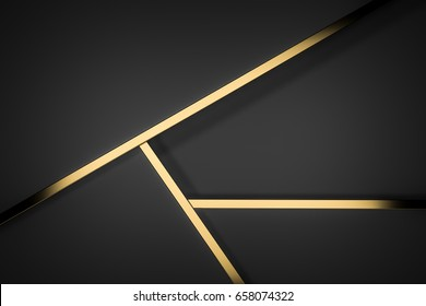 black stack paper material layer with gold stripe background 3d render