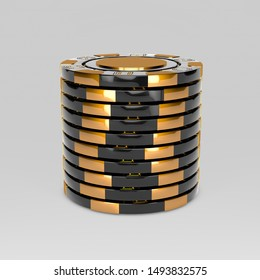 Black stacked poker chips. Classic casino game 3D tokens. Gambling concept, black poker chips with golden design elements isolated on white