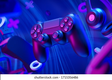 Black standard gamepad, headphones and game console and virtual reality glasses in the air on a blue background with lines. 3d rendering
