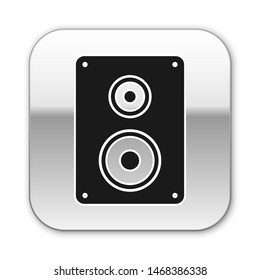 Black Stereo speaker icon isolated on white background. Sound system speakers. Music icon. Musical column speaker bass equipment. Silver square button