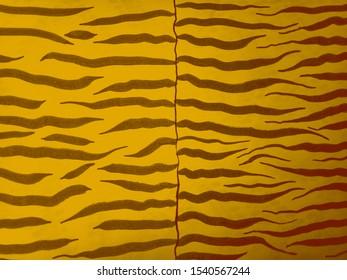 Black Stripes. Seamless Fabric. Black Stripes on Orange Background. Jungle Exotic Texture. Orange Luxury Clothing. Fashion Zebra Artwork. Seamless Camouflage. Safari Fashion Textile.