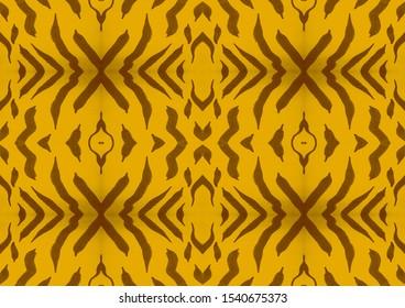Black Stripes. Seamless Ornament. Black Stripes on Orange Background. Orange Luxury Clothing. Safari Fashion Textile. Seamless Camouflage. Trendy Tiger Ornament. Safari Trendy Background.