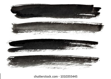 Black strokes isolated on the white background
