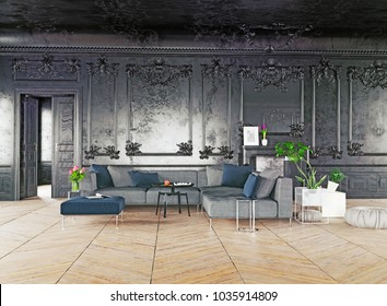 Black style luxury interior. 3d rendering concept
