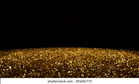Black stylish background with gold particles