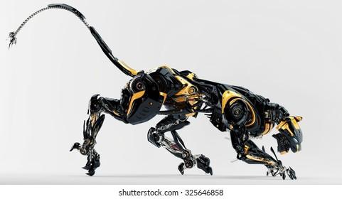 Black stylish robotic cat predator 3d render
