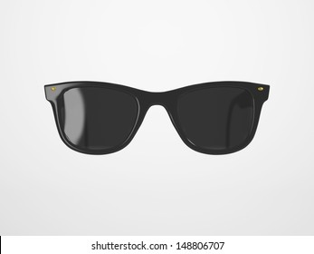Black Sunglasses on a bright Background with Reflection and Transparency