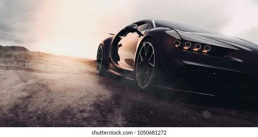 Black super sports car sunset scene (with grunge overlay), headlight detail - 3d illustration