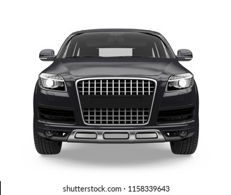 Black SUV Car Isolated (front view). 3D rendering