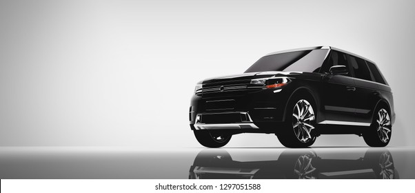 Black SUV car on white background. Brandless vehicle, modern automobile design. 3D illustration.
