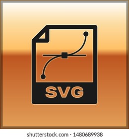 Black SVG file document icon. Download svg button icon isolated on gold background. SVG file symbol
