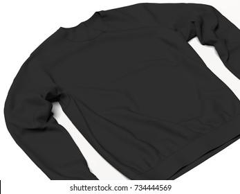 Black sweatshirt isolated on white background. 3d rendering