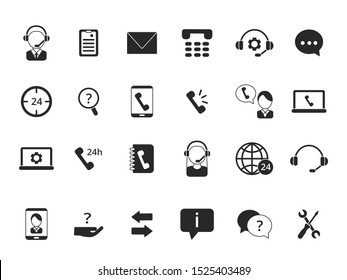 Black symbols of online support. Icon set of call center isolate on white