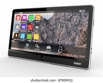 Black tablet pc on white background. 3d
