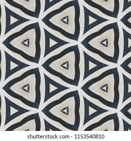 Black, tan and white symmetrical geometric triangle pattern. Abstract design, illustration for wallpaper, fabric, print