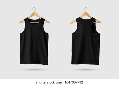 Black Tank Top Shirt Mock-up on wooden hanger, front and rear side view. 3D Rendering.