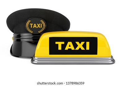 Black Taxi Driver Cap with Goldan Cockade and Taxi Sign near Yellow Taxi Roof Signboard on a white background. 3d Rendering
