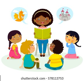 black teacher reading a book to kids of different ethnicities