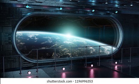 Black tech spaceship round window interior with view on planet Earth 3D rendering elements of this image furnished by NASA