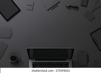 Black template for branding identity with copyspace