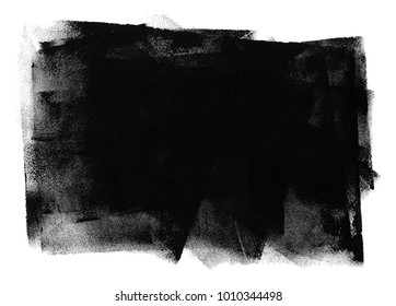 Black texture isolated on white background. Gouache paint. Grunge design. Abstract art.