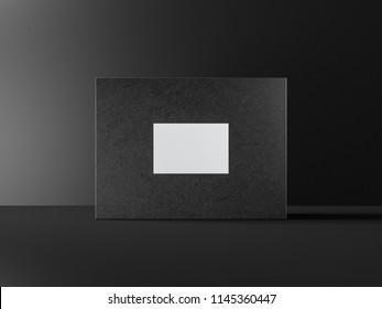 Black textured Box Mockup packaging in dark studio, 3d rendering