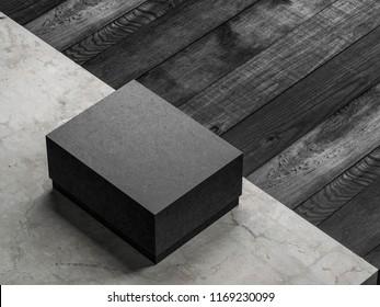 Black textured cardboard box mockup on concrete floor, 3d rendering