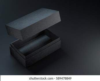 Black textured opened box mockup on black background, 3d rendering