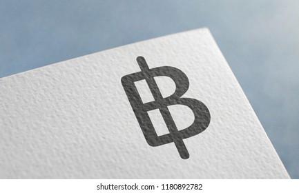 Black Thai Baht Money 3D Illustration Symbol Write On The Paper. Thai Baht Money Logo On The Paper. Thai Baht Money Logo. 3D Rendering.