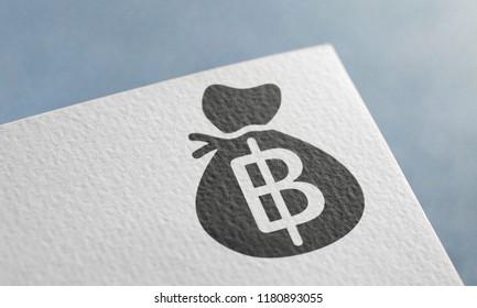 Black Thai Baht Money Bag 3D Illustration Symbol Write On The Paper. Thai Baht Money Bag Logo On The Paper. Thai Baht Money Bag Logo. 3D Rendering.