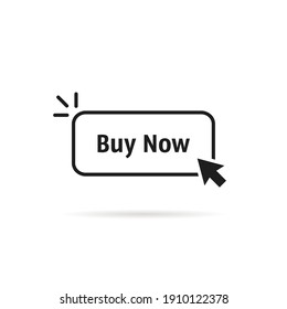 black thin line buy now button. concept of client making easy decision or pre-order and online store or e-commerce. flat simple cpc or ppc linear logotype graphic design isolated on white background